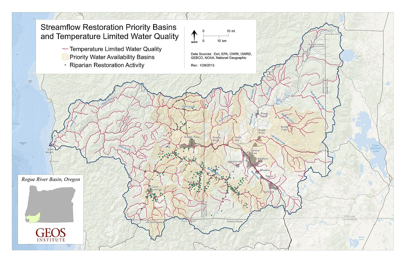 Streamflow Restoration Priority Basins and Temperature Limited Water Quality