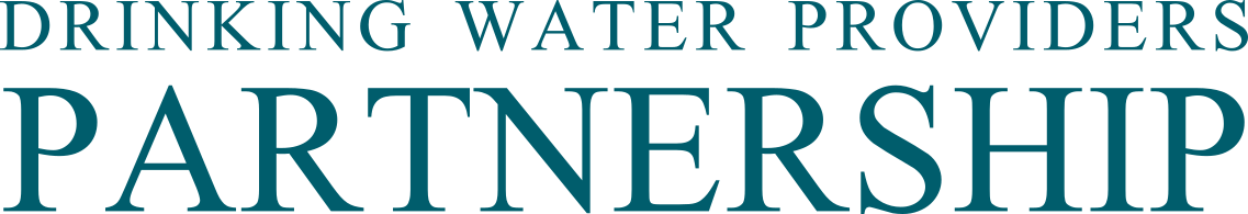 Logo showing Drinking Water Providers Partnership in teal text